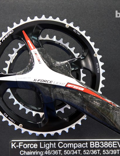 FSA has called Shimano's bet with its own asymmetrical four-arm road crankset - although it's different from the Dura-Ace pattern. FSA claims the new K-Force Light Compact BB386 EVO spider more evenly distributes stress than conventional designs, for increased stiffness