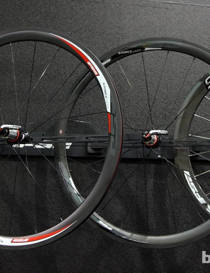 New for 2014 is a carbon clincher version of FSA's top-end K-Force Light road wheelset. Claimed weight is just 1,400g for the pair