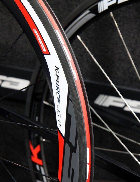 The new FSA K-Force Light carbon clincher rims will be available in two depths - 38mm and 55mm - but they're both very narrow with a 14.7mm internal width