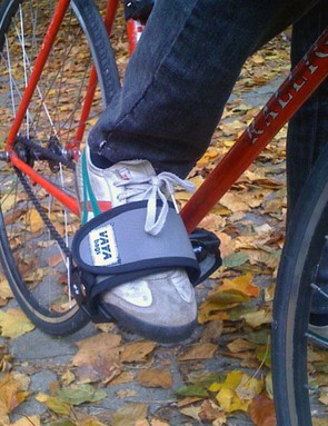 Vaya makes a variety of products, including toe straps like these, from upcycled materials