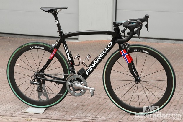 The Dogma K is Pinarello's classics-type bike with a slightly more relaxed geometry than the Dogma 65.1 Think 2 plus additional tire clearance to handle the requisite high-volume tubulars
