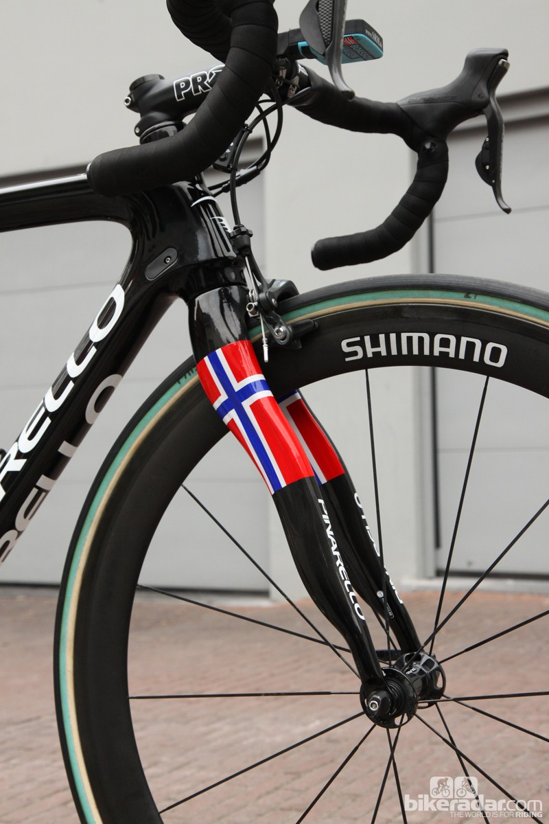 The unusual Pinarello Onda fork looks strange but its wiggly shape does somehow provide an oddly smooth ride