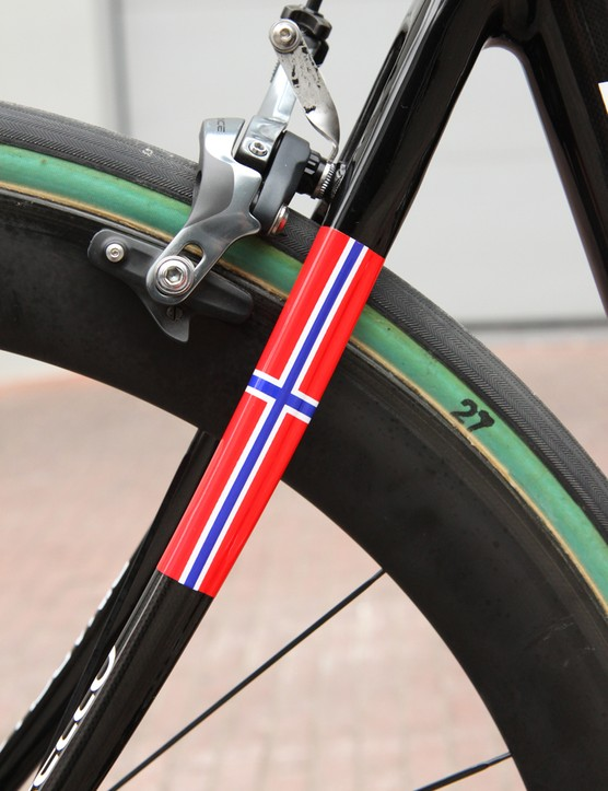 Edvald Boasson Hagen (Sky Pro Cycling) gets the personal touch to celebrate his current status as Norwegian national road champion