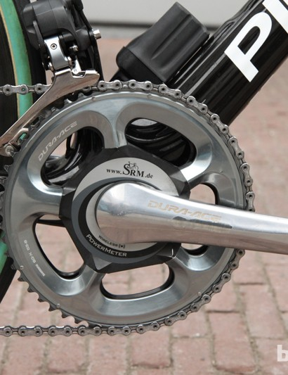 175mm-long crankarms and 53/44T gearing on Edvald Boasson Hagen's (Sky Pro Cycling) SRM power meter