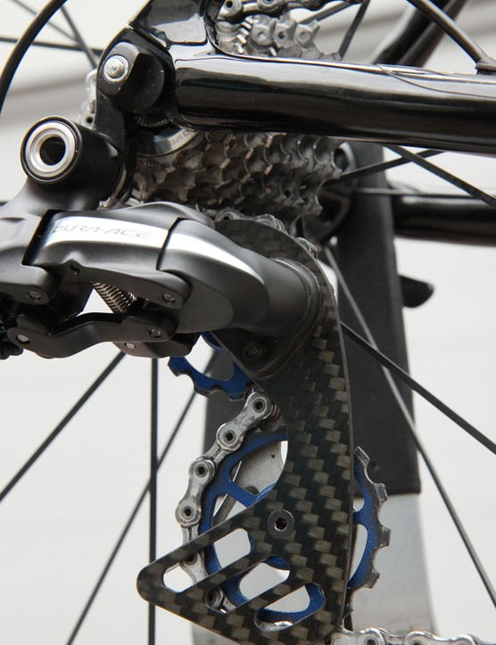 Berner's carbon fiber cage and ultra-oversized pulleys on Edvald Boasson Hagen's (Sky Pro Cycling) Shimano Dura-Ace Di2 rear derailleur for Paris-Roubaix
