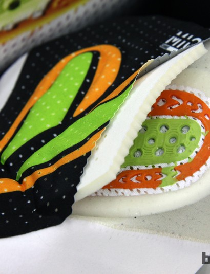 Shock absorbing silicone gel is injected onto a mesh fabric in Santini's MIG3 chamois