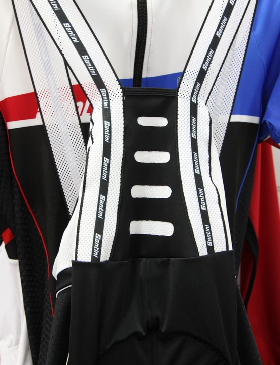 The Santini BCool bib straps are extra stretchy to fit a wider range of torso lengths. Tall but very thin riders should therefore be able to size the shorts to fit their legs properly without constricting their upper bodies