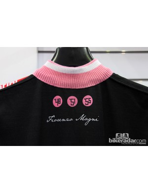 The knit collar lends a classic look to Santini's Fiorenzo Magni commemorative jersey