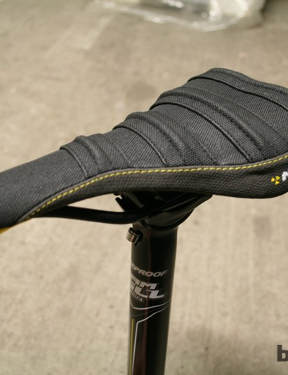 The pleated top section was inspired by Hill's motocross bike seat