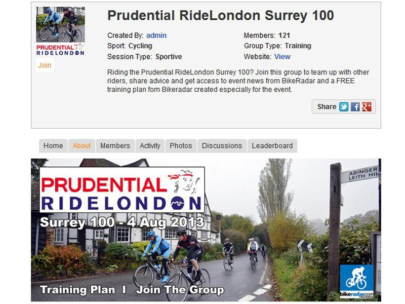 Join the Prudential RideLondon-Surrey 100 group on BikeRadar Active for a free training plan