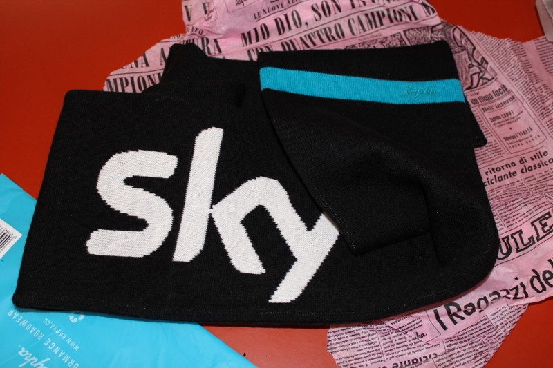 The Team Sky supporter scarf is a nylon piece