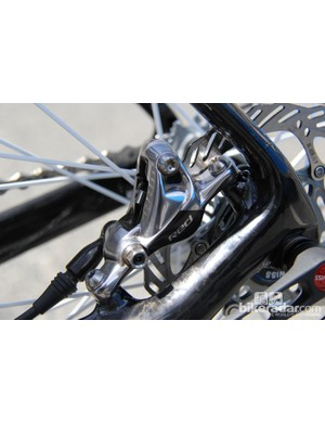 The post-mount disc brake is located on the chainstay and fits a 140mm rotor