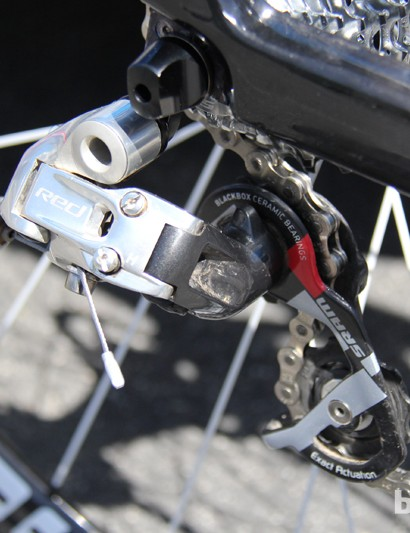A 10-speed SRAM Red rear derailleur handles the shifting