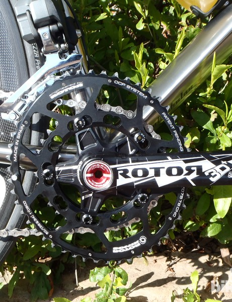 Rotor 3D+ cranks with standard Q rings attached
