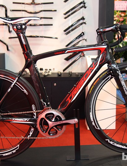 The Trigon TR004 road bike can be set up with nearly any brake configuration imaginable, from conventional center-mount calipers to linear-pull to disc - all on the same frameset