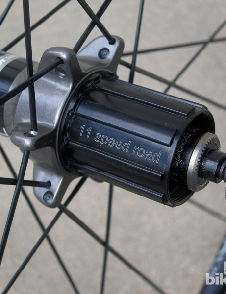 Bontrager's DT Swiss-based rear hub is all ready for Shimano 11-speed drivetrains