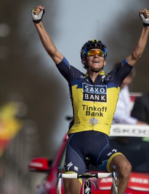 Roman Kreuziger of the Czech Republic crosses the finish line to win the Amstel Gold Cycling race