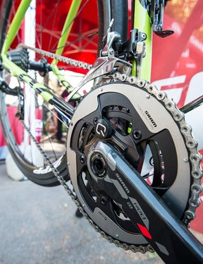 The Red 22 group offers the option of an integrated Quarq power meter in a variety of crank length and chain ring configurations