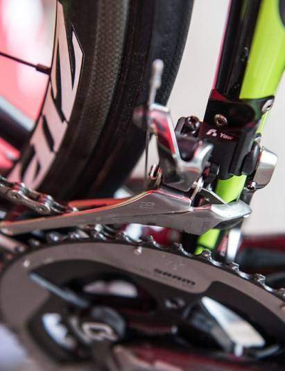 The Yaw front derailler angles as it shifts, allowing for use of the full width of the cassette on either ring without having to (or being able to) trim the front derailleur