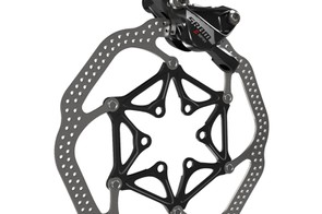 SRAM insists on 160mm rotors for road use. This is the 700 Hydro R disc caliper