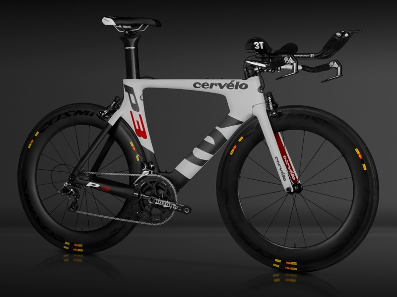 The new Cervélo P3 incorporates some aero designs from the P5. Note that it is not sold with these wheels