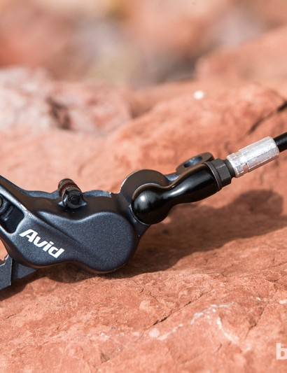 The Avid Elixir 7 shares the same four-piston caliper design of Avid/SRAM's higher priced Trail brakes