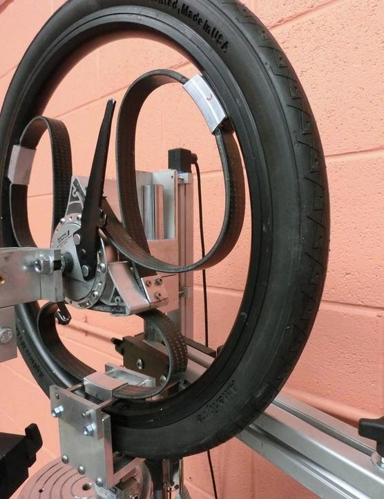 A loopwheel visibly deforming under compression