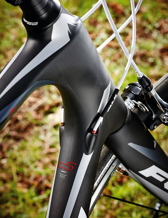The comfort-friendly 210mm head tube is at odds with otherwise more racy geometry