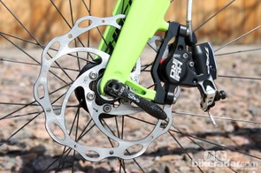 TRP recommends a 160mm-diameter front rotor for road applications but says a 140mm-diameter rear should be fine for both road and 'cross