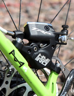 While bulky in appearance, the HY/RD is still fairly light at 195g for the bare caliper with pads. The lighter rotor and trimmed-down hardware package brings the total weight to 319g with a 160mm rotor - just 10g heavier than the benchmark Avid BB7 Road