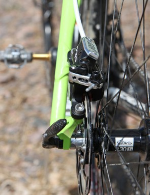 The TRP HY/RD caliper is tall but admirably narrow. Heel clearance even on chain stay-mounted frames should be no problem