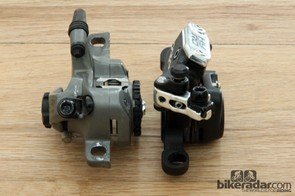 TRP's new HY/RD disc brake caliper (right) is just 33mm-wide - a whopping 28mm narrower than the Avid BB7 Road benchmark (left)