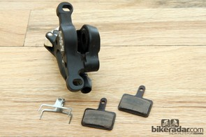 Pads are fed into the TRP HY/RD caliper from the bottom and share compatibility with some Shimano brakes for easier sourcing of replacement pads plus more choices in compounds