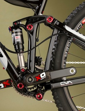 Niner's CVA rear suspension uses a rocker link and a yoke mounted under the bottom bracket to provide 125mm of rear suspension