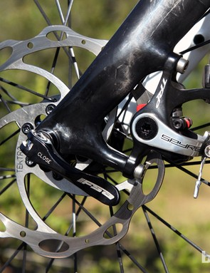 The new TRP Spyre mechanical disc brakes offer a fresh new option for riders who want to try discs but aren't yet ready to commit to full hydraulic setups. Modulation is excellent but power definitely isn't as good as with TRP's mechanical-hydraulic HY/RD hybrid caliper - or Avid's benchmark BB7 Road, for that matter