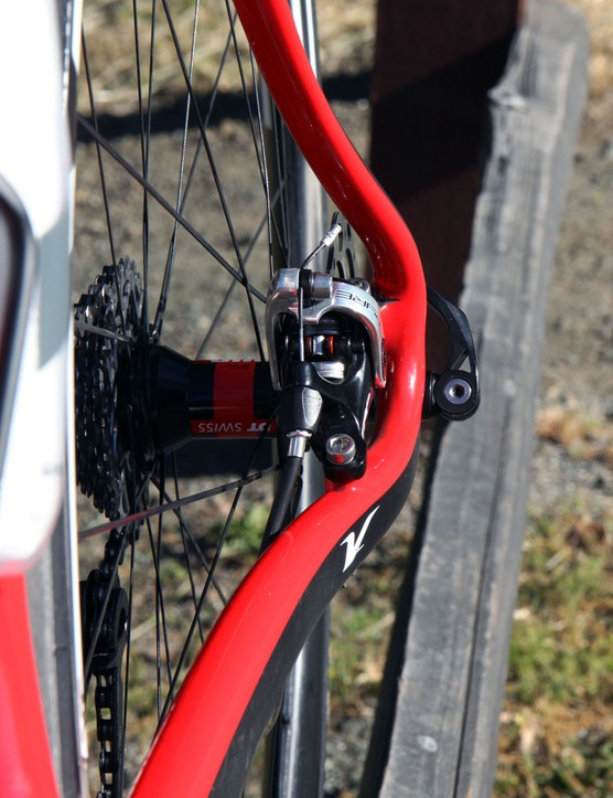 The new TRP Spyre is impressively narrow, trimming about 20mm from an Avid BB7. Heel clearance wasn't an issue at all during our test ride