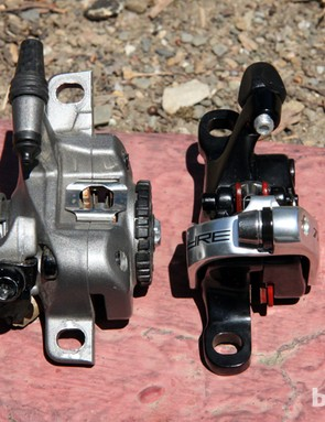 TRP's new Spyre mechanical disc brake caliper (right) is substantially narrower and more modern looking than Avid's aging BB7 - but, unfortunately, it doesn't seem to work as well