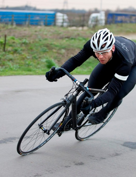 Sir Chris Hoy puts one of his frames through its paces