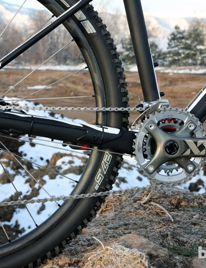 Tall and fat chain stays paired with a rear thru-axle make for a solid rear end under power and when charging through rocky sections of trail