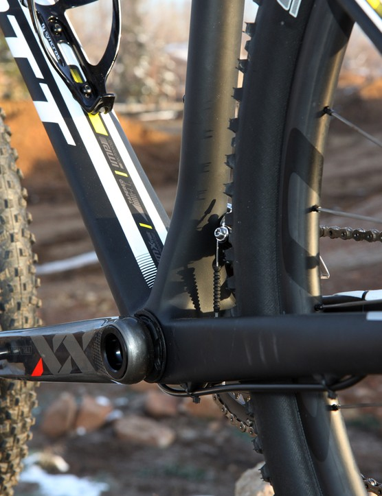 The down tube and seat tube both flare out to take advantage of every bit of available real estate at the PF30 bottom bracket
