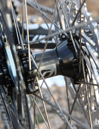 Syncros uses DT Swiss star ratchet internals in the rear hub of its TR1.0 Carbon wheel