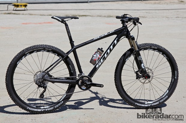"Once limited only to team riders, Scott's 27.5""-wheeled Scale hardtails will now be available to the public. The top-end Scale 710 shown here uses a carbon frame that's nearly identical to what Nino Schurter uses"