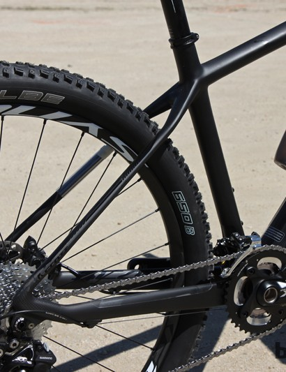 The rear end of the new Scott Scale 710 is similar to the company's other carbon Scales with meaty chain stays paired to slim and flattened seat stays