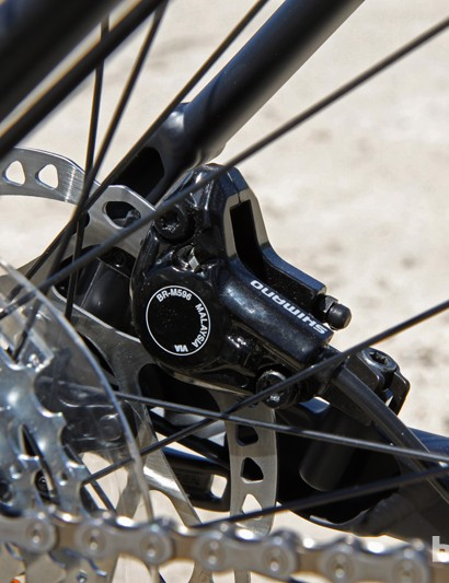 The aluminum dropouts on the Scott Scale 740 are deeply profiled to help maintain rigidity