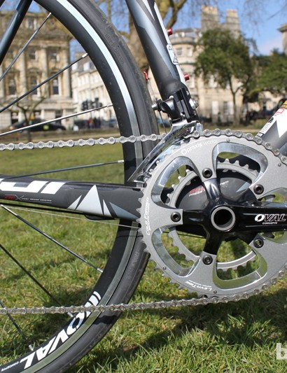 Fuji's in-house brand Oval have supplied most of the kit, including the cranks, which hold Praxis 50/34 chainrings