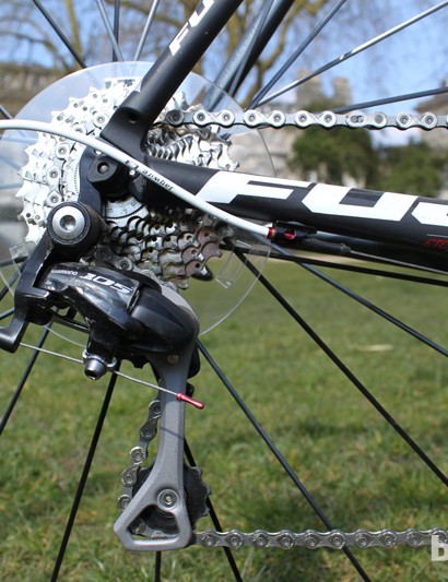 The rest of the gearing is taken care of by Shimano's 105 groupset