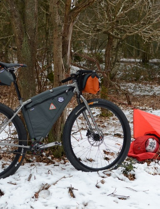The Element all geared up and ready for its first bivvy biking expedition