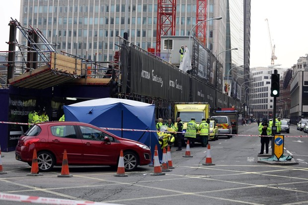 The scene at Victoria Street central London, where a cyclist died after being hit by a lorry