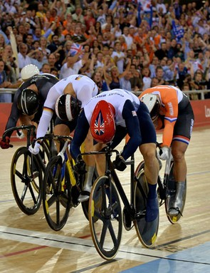 Sir Chris Hoy crosses the line to win Gold in the men's keirin final at the London Olympics