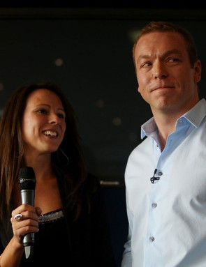 Sir Chris Hoy with his wife Sarra as he announces his retirement during the press conference at Murrayfield Stadium, Edinburgh
